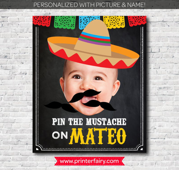 Pin the Mustache Party Game