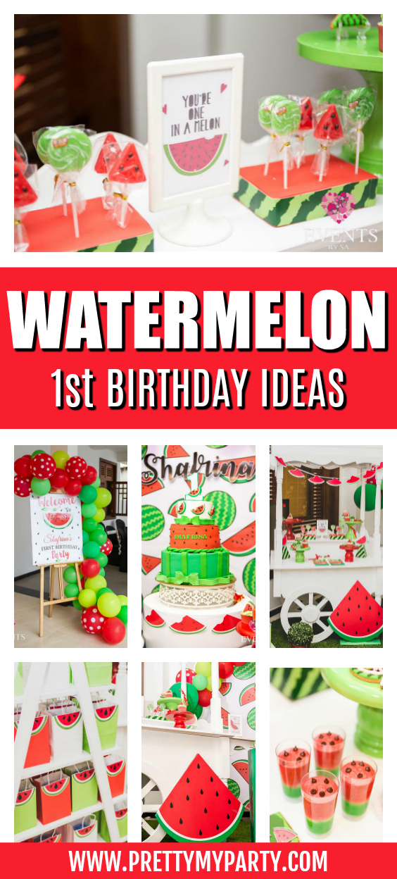 Watermelon 1st Birthday Party on Pretty My Party