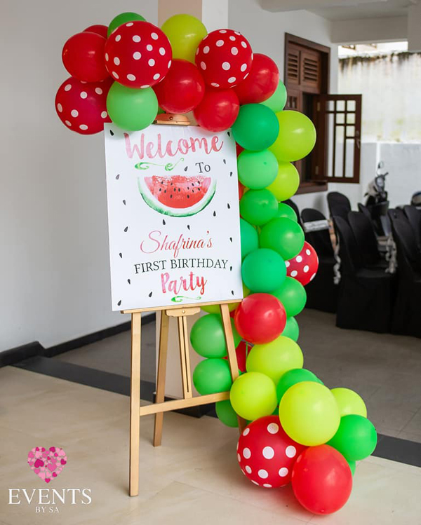 Watermelon 1st birthday welcome sign
