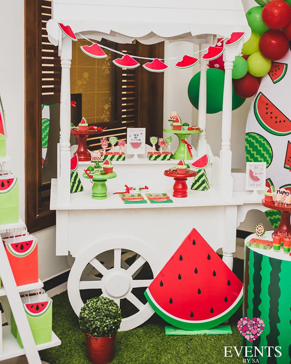 Watermelon party dessert cart