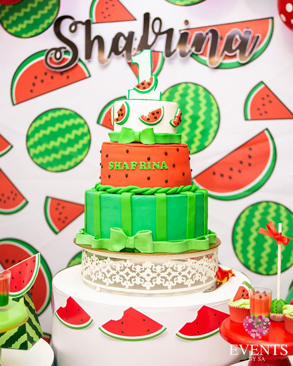 Watermelon 1st birthday cake