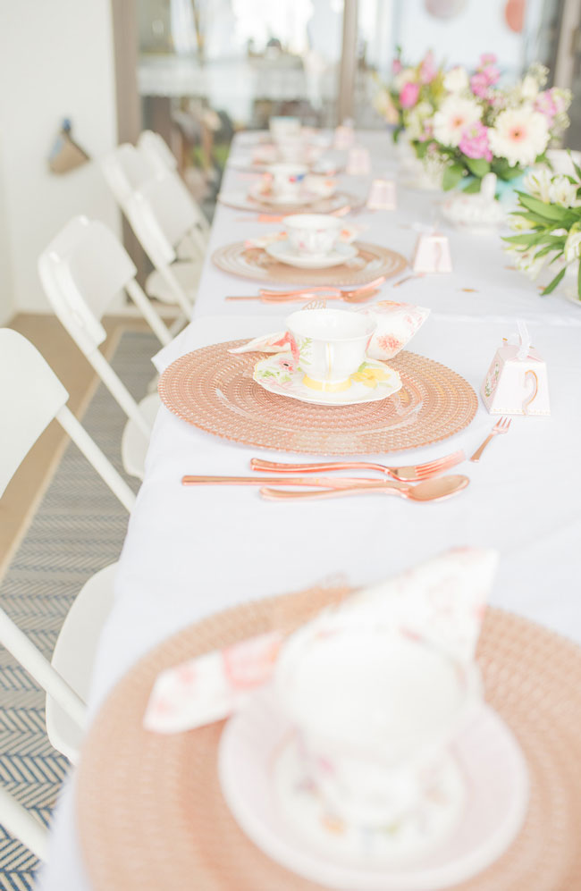 Chic Tea Party Bridal Shower Place Settings
