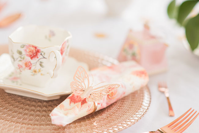 Floral and Butterfly Place Settings for Tea Party