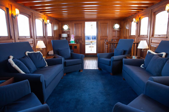 Inside of the yacht