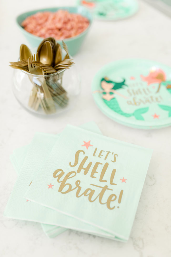 Let's Shell a brate Party Napkins for Mermaid Party