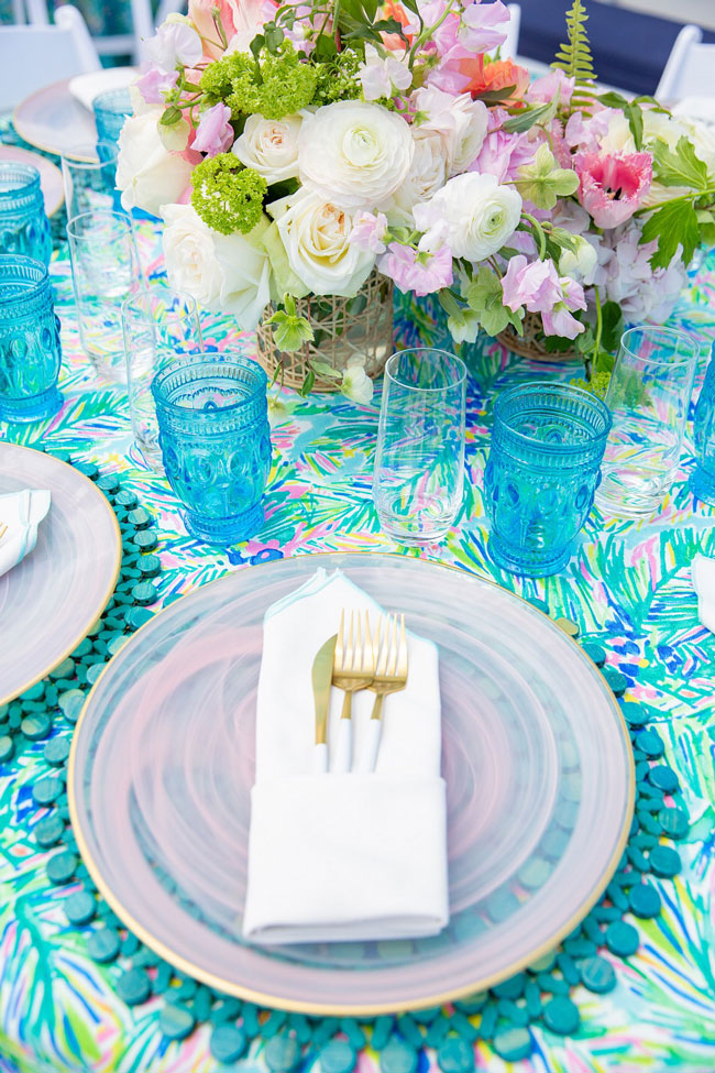 Lily Pulitzer Themed Party Table Setting