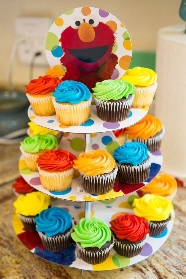 Colorful Cupcakes on Elmo Cupcake Stand