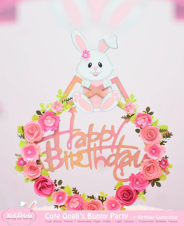 Happy Birthday Bunny Cake Topper