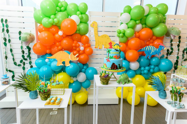 Colorful Dino Party Backdrop