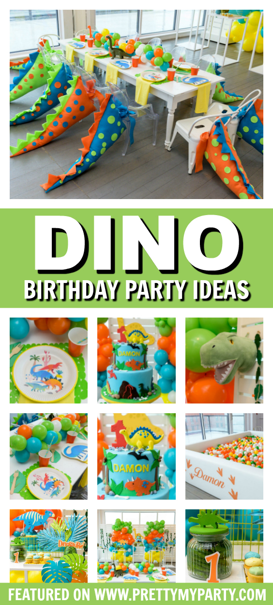 Colorful Dino 1st Birthday Party on Pretty My Party