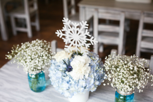 Frozen Flower Centerpiece With Snowflake Topper