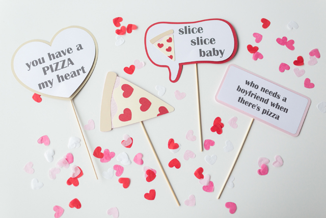 Pizza Party Photo Booth Props For Valentine's Day