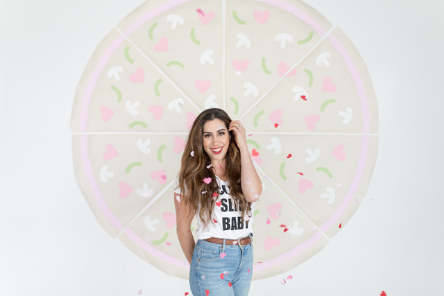Heart Pizza Photo Booth Backdrop