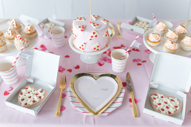 Galentine's Day Pizza Party Tableware and Desserts