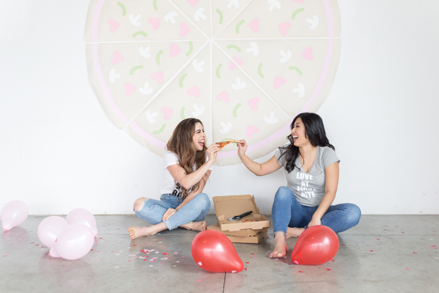 Galentine's Day Pizza Party Photo Booth