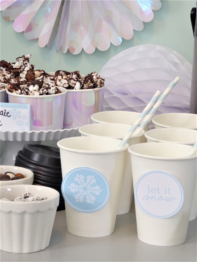 Hot Chocolate Cups With Let It Snow Printables