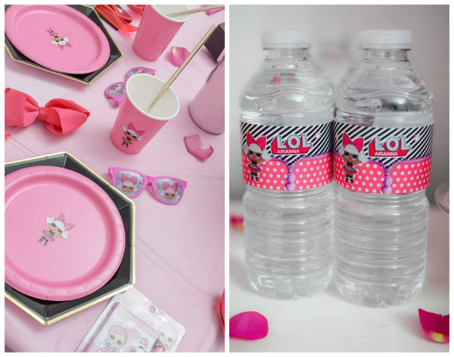 Party Tableware and Water Bottle Labels