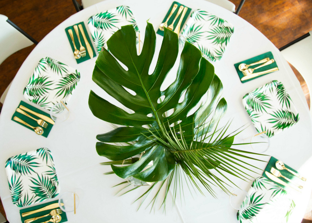 Wild One Party Palm Leaf Table Decor