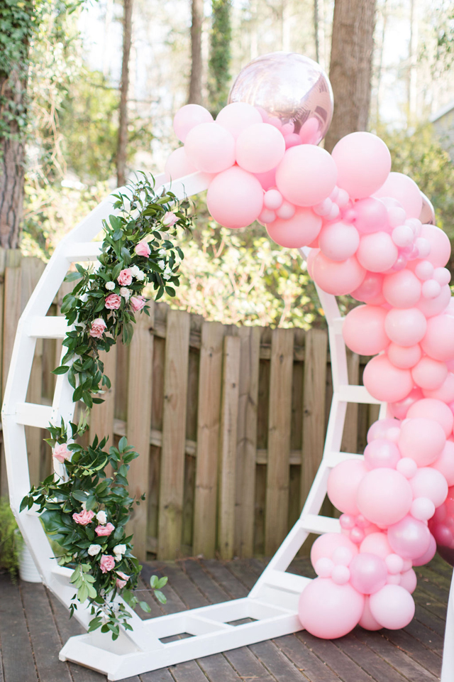 Galentine's Day Party Balloon and Flower Arch
