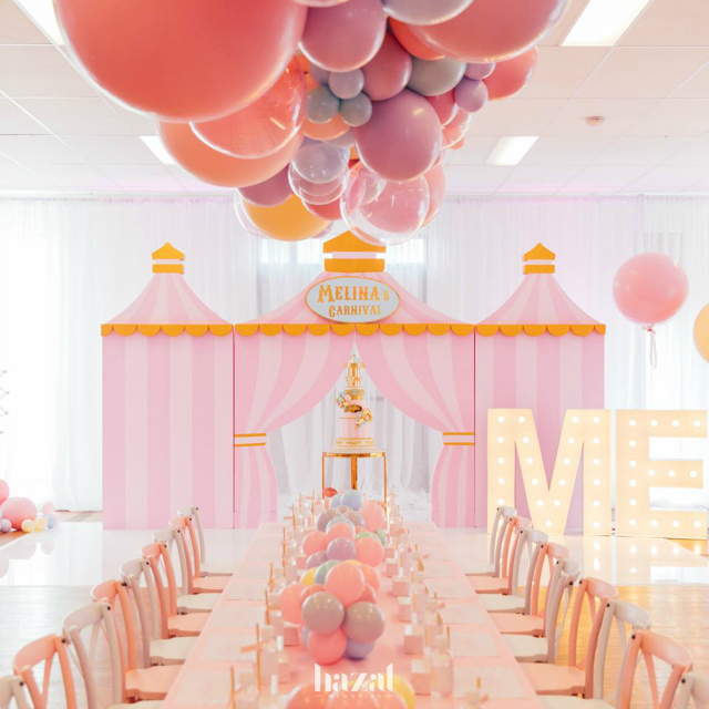 Pink Carnival Birthday Table Decor
