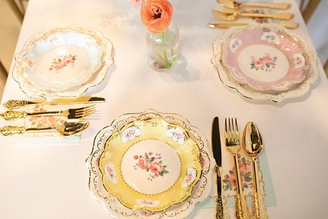 Tea Party Floral Plates and Napkins