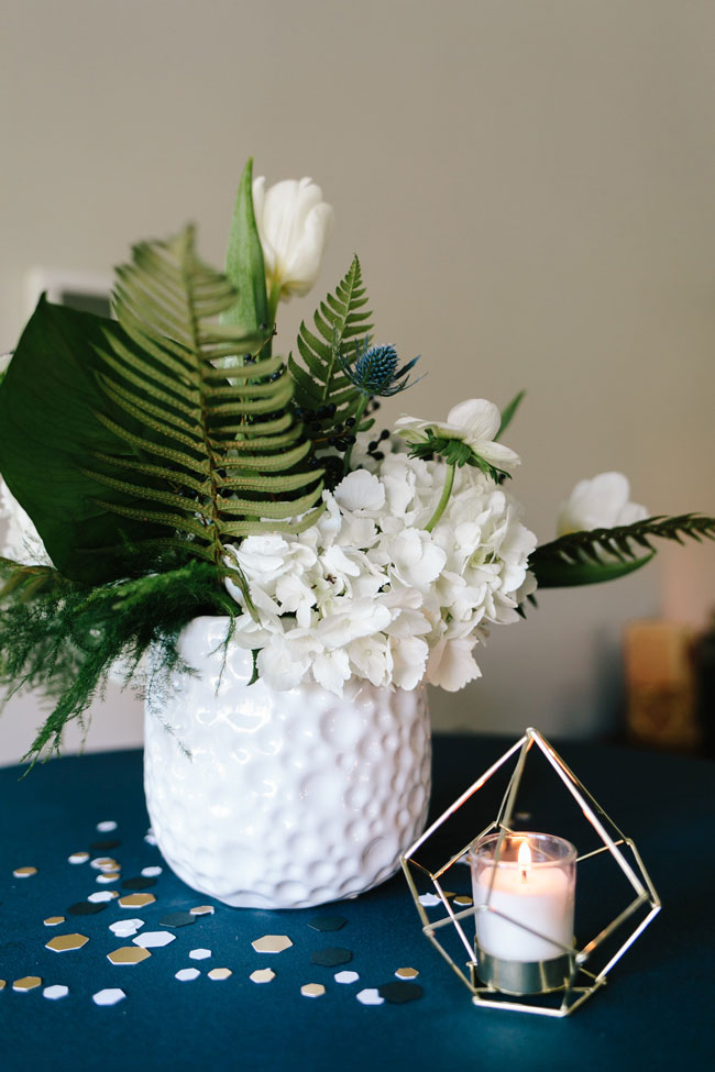Baby Shower Flower and Candle Centerpiece