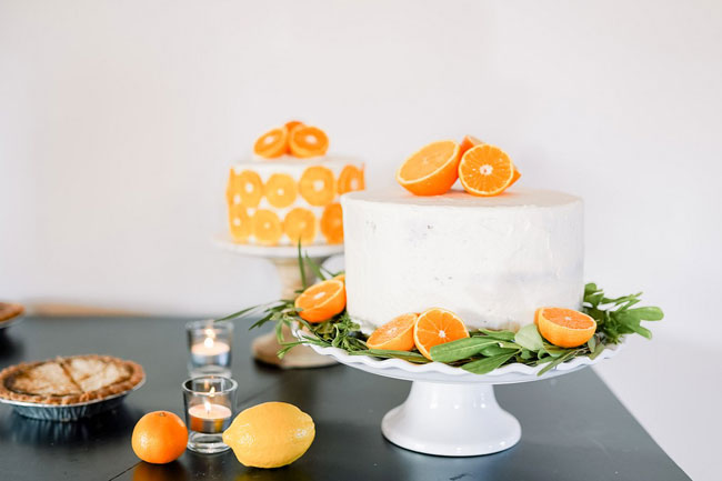 Orange and Navy Baby Shower Cakes With Orange Slices