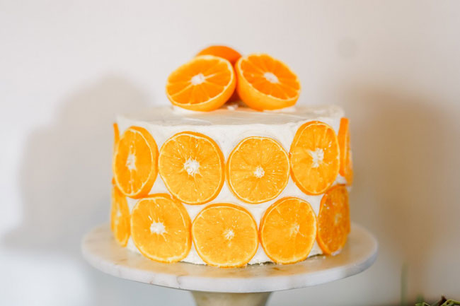 Citrus Baby Shower Cake With Orange Slices
