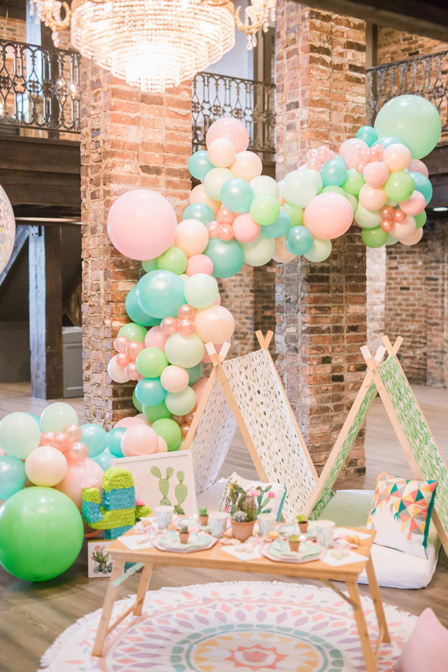 Colorful Cactus Teepee Party For Girls