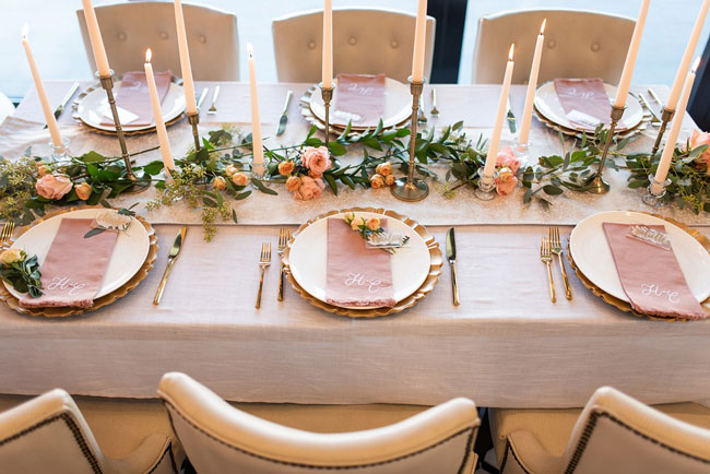 Gold and Punk Engagement Party Table Decor