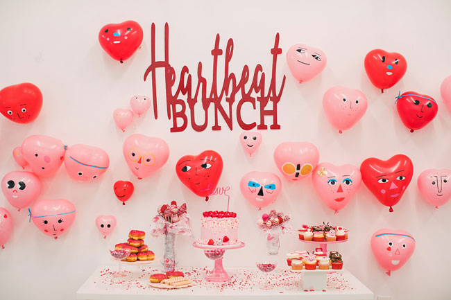 Heart Themed Valentine's Day Party Dessert Table