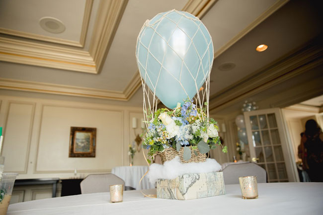 Hot Air Balloon and Flower Baby Shower Centerpiece