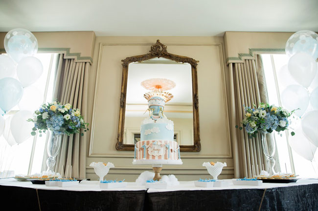Whimsical Hot Air Balloon Baby Shower Cake