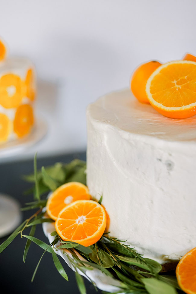Orange and Navy Baby Shower Cake