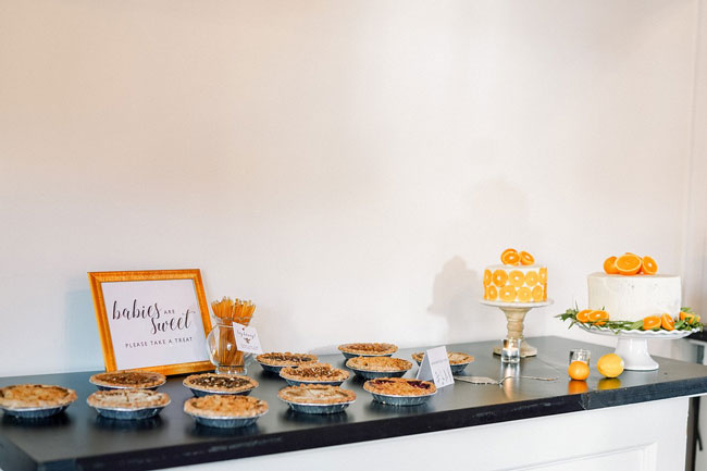 Orange and Navy Baby Shower Sweets Table