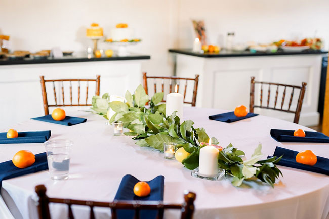 Orange and Navy Baby Shower Table Setting and Centerpiece