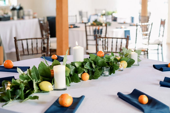 Orange and Navy Baby Shower Table