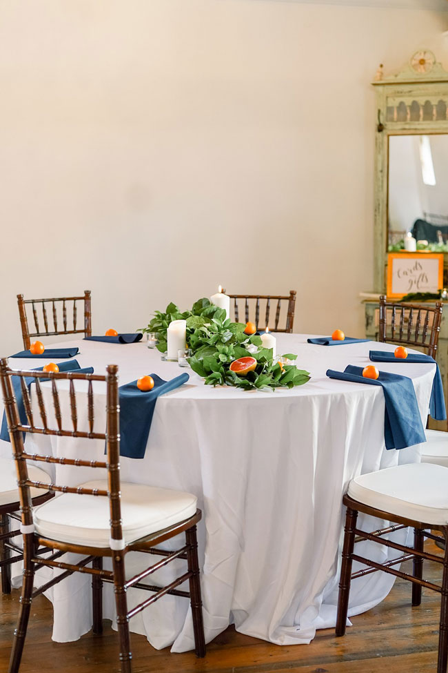 Orange and Navy Baby Shower Table Idea