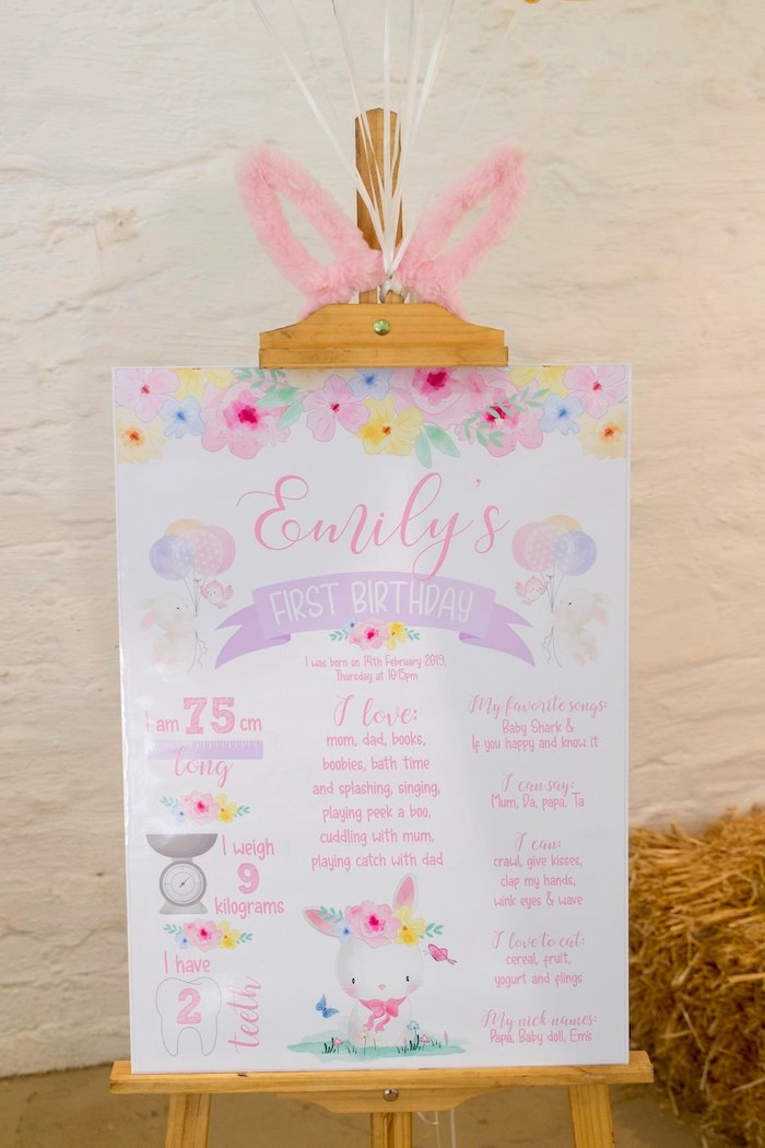 Some Bunny Is One Milestone Poster Sign