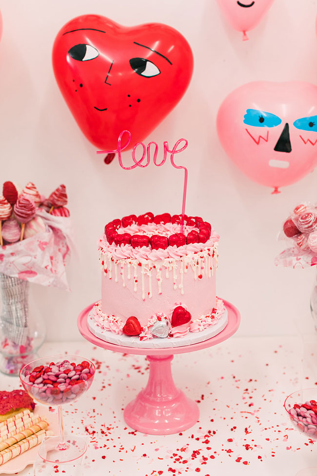 Red, Pink and White Valentine's Day Cake