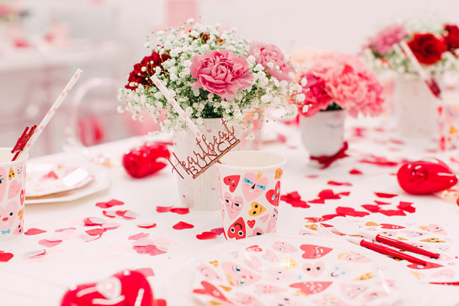 Heart Themed Table Decorations