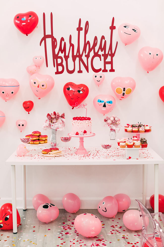 Heartbeat Bunch Valentine's Day Party Backdrop