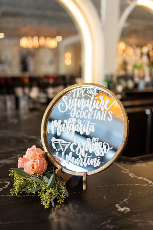 Engagement Party Signature Cocktail Mirrored Sign