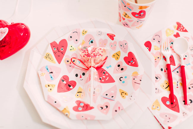 Heart Valentines Party Plate