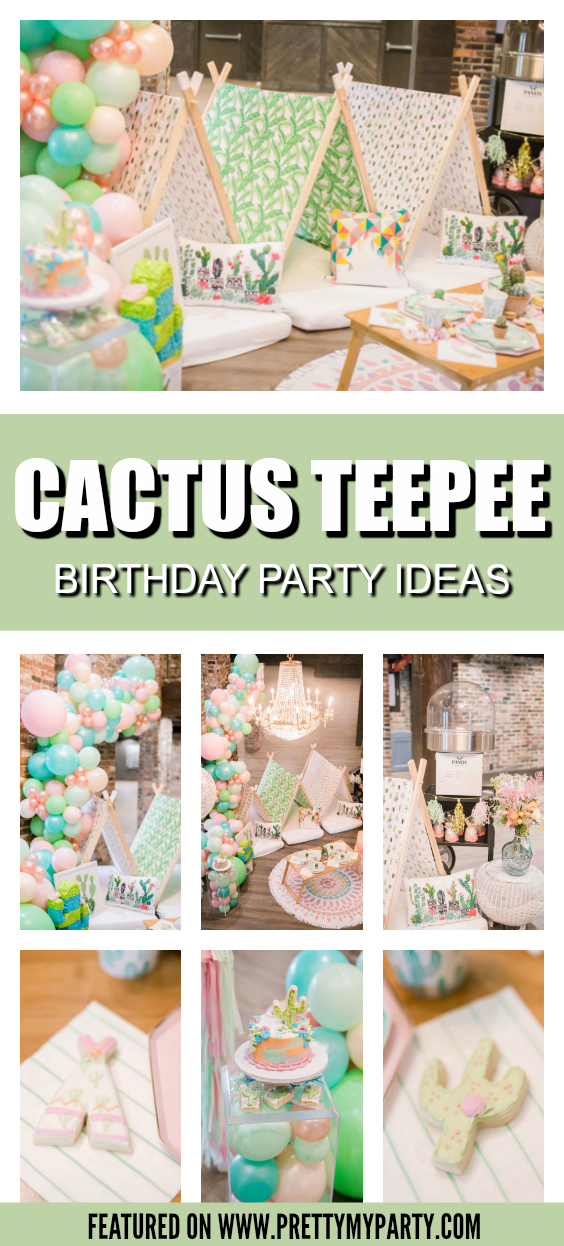 Colorful Cactus Teepee Party on Pretty My Party