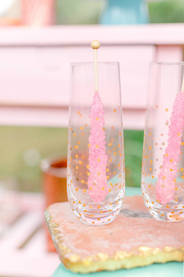 Gold Confetti Glasses With Pink Rock Candy