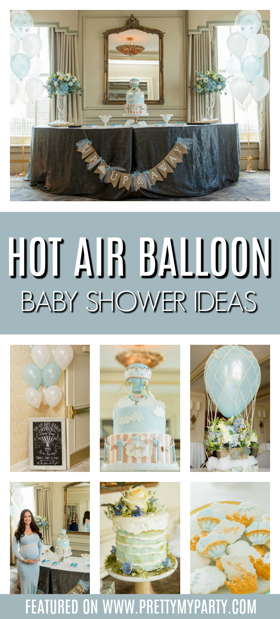Whimsical Hot Air Balloon Baby Shower on Pretty My Party