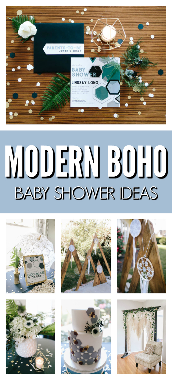 Modern Boho Baby Shower Ideas on Pretty My Party