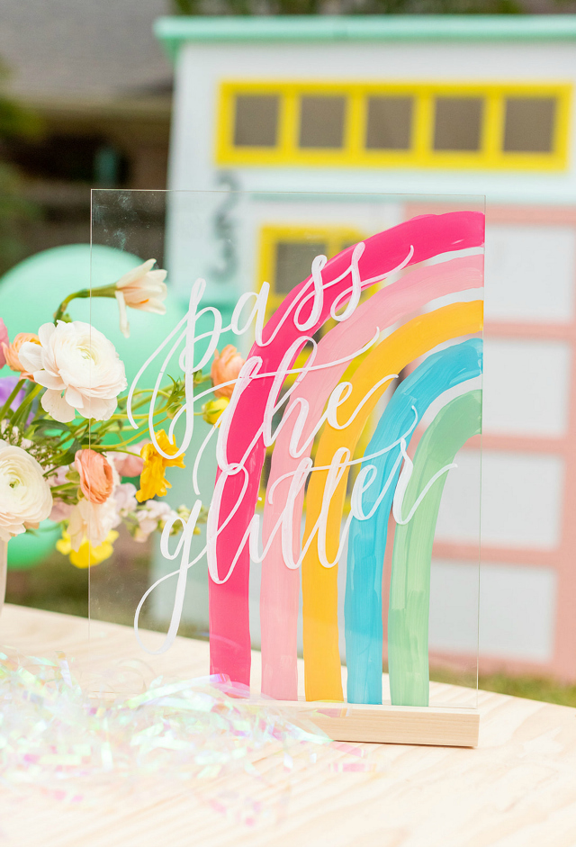 Rainbow Pass the Glitter Party Sign