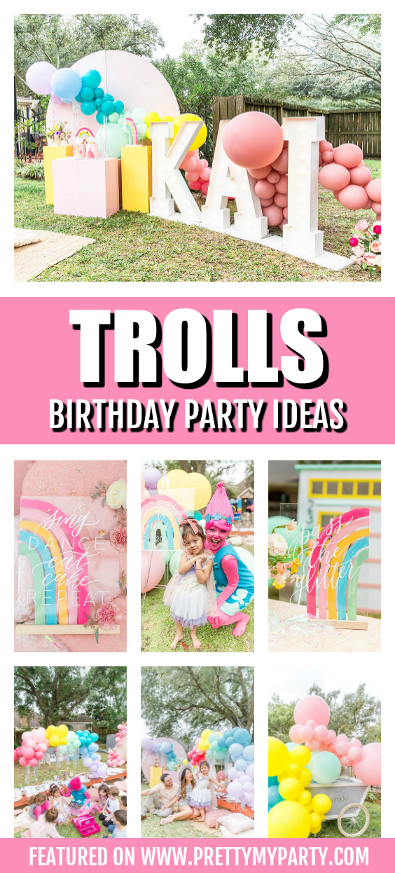 Rainbow Trolls Themed Birthday Party
